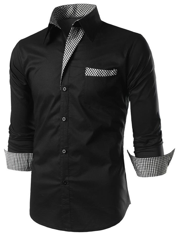 Button Up Checked Panel Casual Shirt - BLACK XL