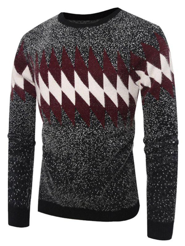 Crew Neck Geometric Printed Sweater - GRAY L