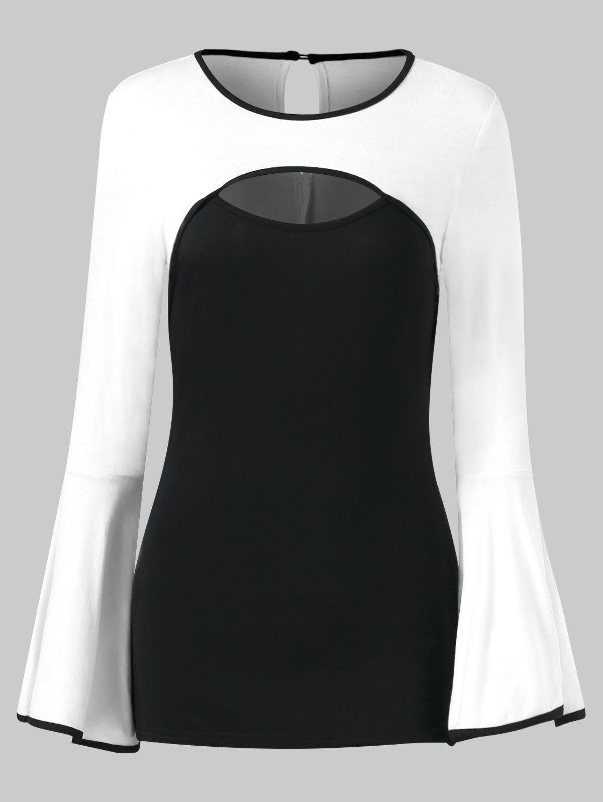 Color Block Hollow Out Bell Sleeve Tee - BLACK L
