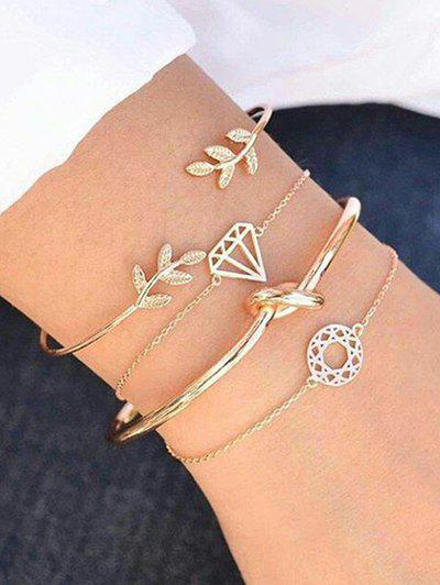 Rhinestone Leaf Diamond Knot Alloy Bracelet Set - GOLD