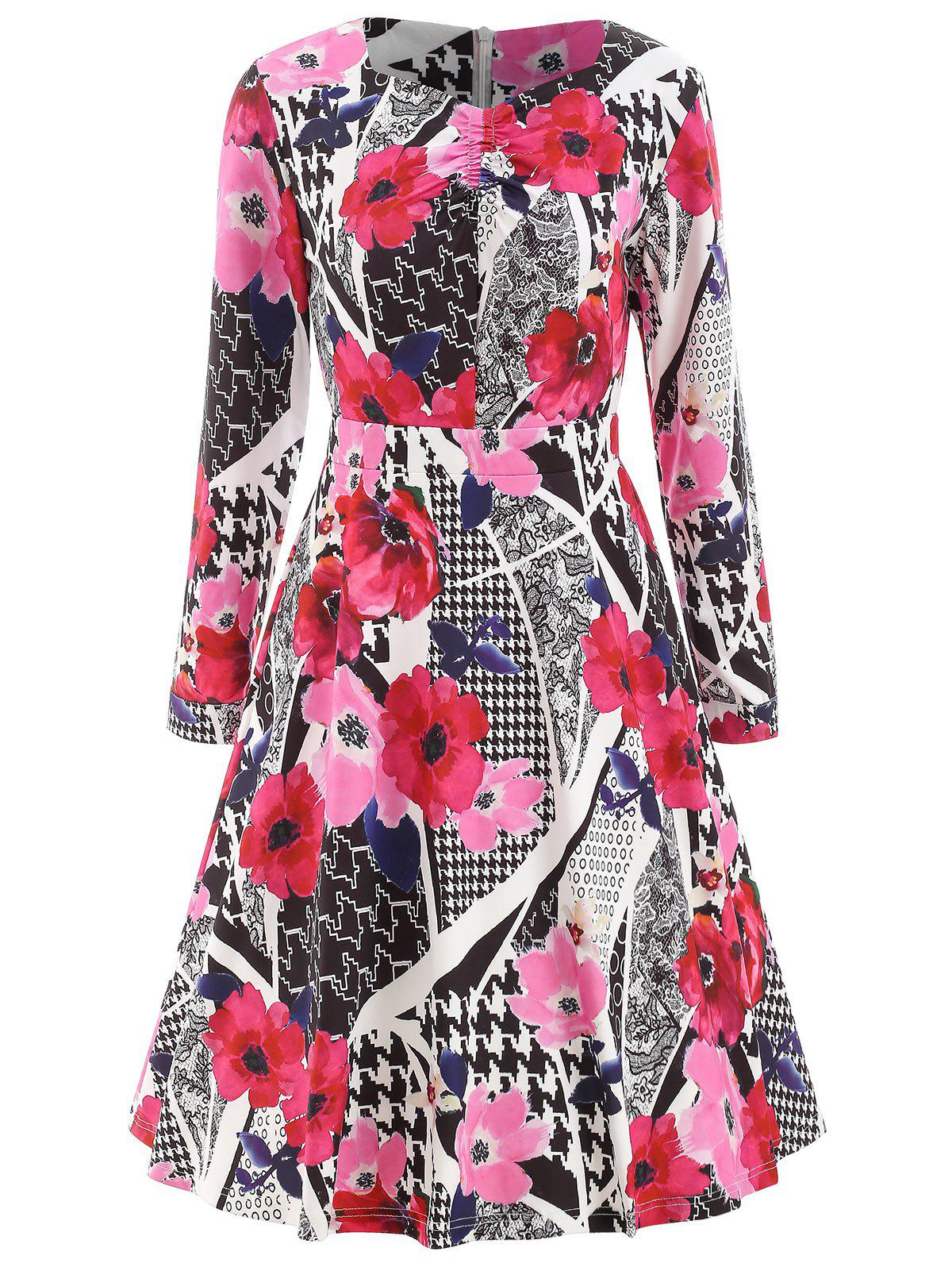 Abstract Print High Waist Dress