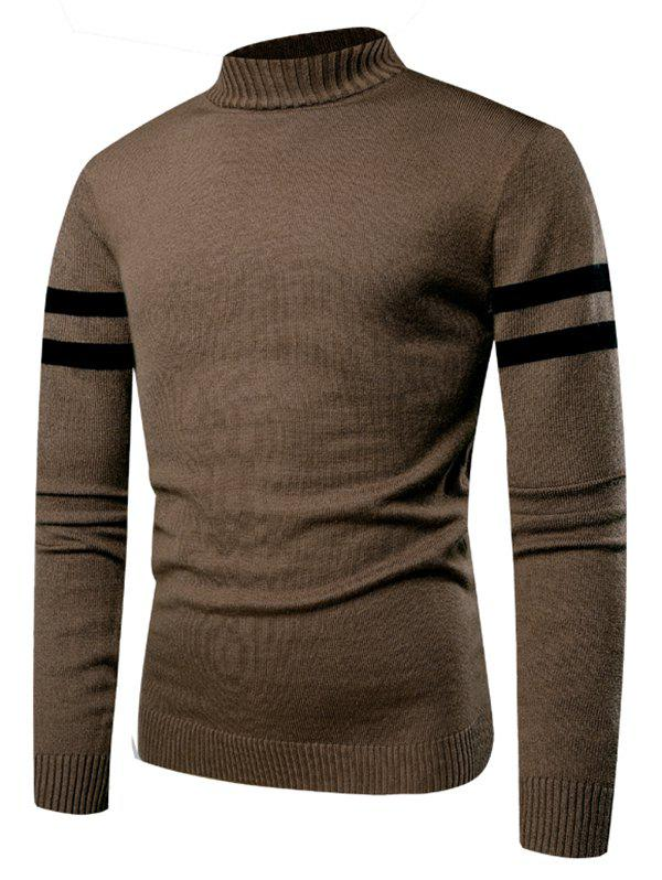 Stand Collar Stripe Sleeve Sweater - BROWN M