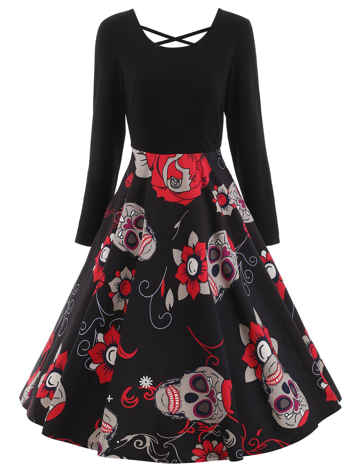 Sugar Skull Print Criss-cross Dress - BLACK L