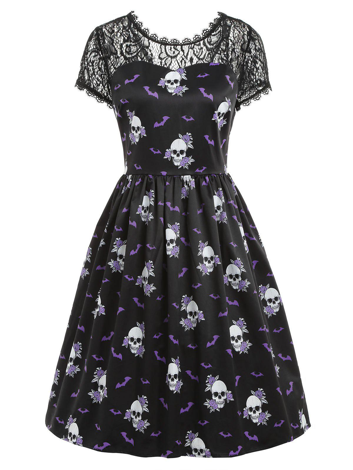 Halloween Skull Print Pin Up Dress - BLACK S