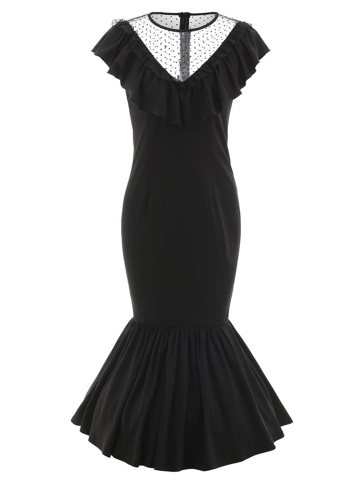 Lace Panel Drop Waist Maxi Flounce Dress - BLACK L
