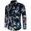 Long Sleeve Animal Flower Print Shirt - multicolor XL