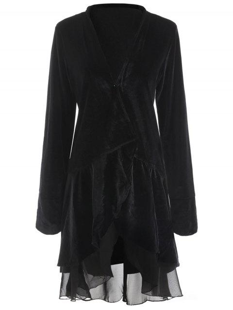 Stylish Long Sleeve Swingy Velvet Women's Coat - BLACK XL