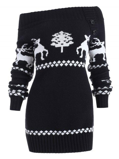 Off The Shoulder Reindeer Knit Tunic Sweater - BLACK S