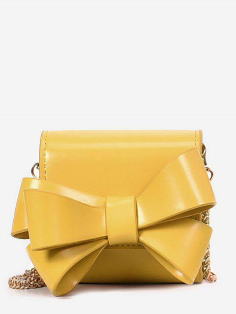 Mini Bow PU Leather Chain Crossbody Bag - YELLOW