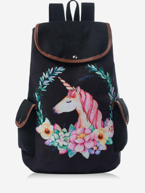 Unicorn Top Handle Canvas Backpack - BLACK