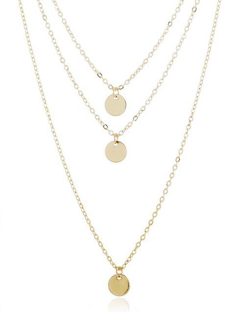 Chain Layer Metal Disc Necklace - GOLD