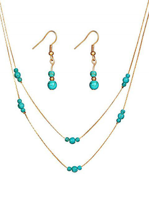 Elegant Faux Turquoise Beaded Necklace Earrings Suit - GOLD
