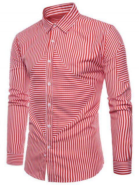 Slim Fit Striped Print Button Up Shirt - RED WINE XL