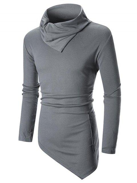 Asymmetric Long Sleeve Solid Color T-shirt - GRAY 2XL