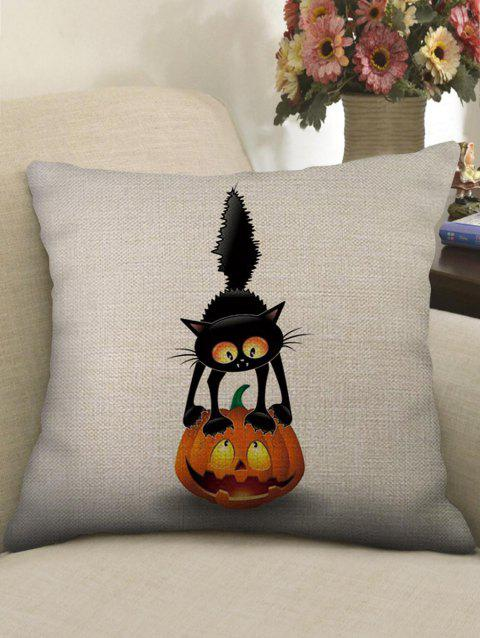 Halloween Cat Pumpkin Print Sofa Linen Pillowcase - WHITE W18 INCH * L18 INCH