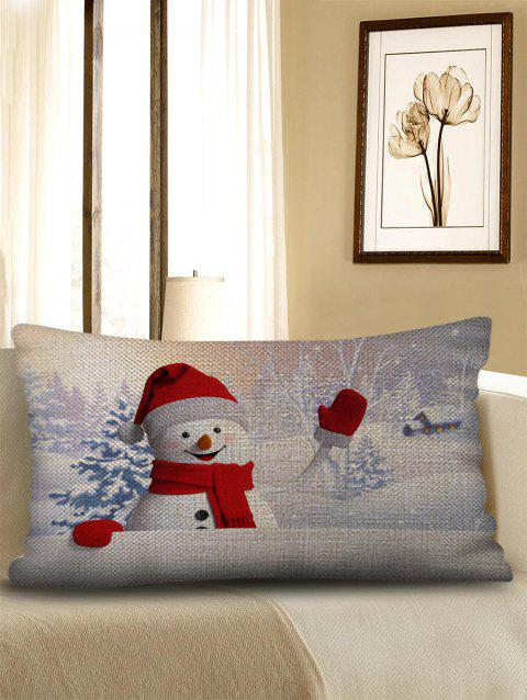Christmas Snowman Print Sofa Linen Pillowcase - WHITE W12 INCH * L20 INCH