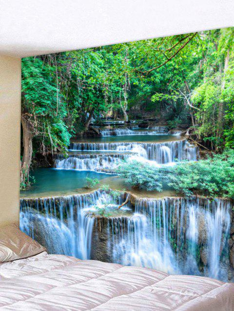 Forest Waterfalls Print Tapestry Wall Art - FOREST GREEN W118 INCH * L79 INCH