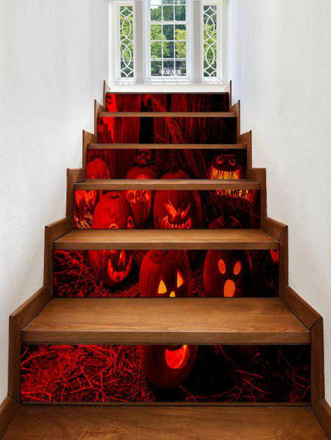 Halloween Pumpkins Pattern Stair Stickers - RED 6PCS:39*7 INCH( NO FRAME )