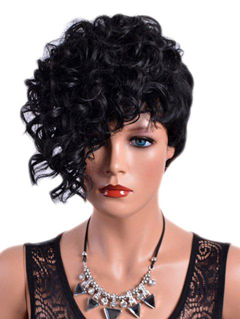 Short Inclined Fringe Layer Curly Synthetic Wig - BLACK