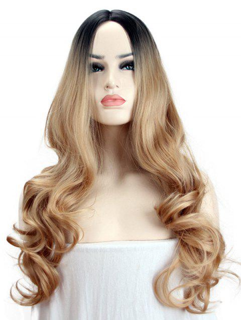 Long Middle Part Synthetic Colormix Wavy Party Wig - GOLD