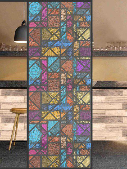 Colorful Geometric Print Frosted Translucent Glass Sticker - multicolor 35*23 INCH