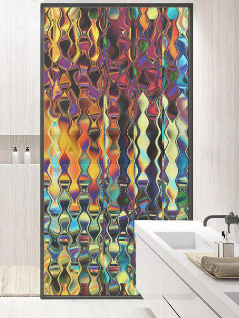 Iridescent Print Translucent Frosted Glass Sticker - multicolor 47*23 INCH