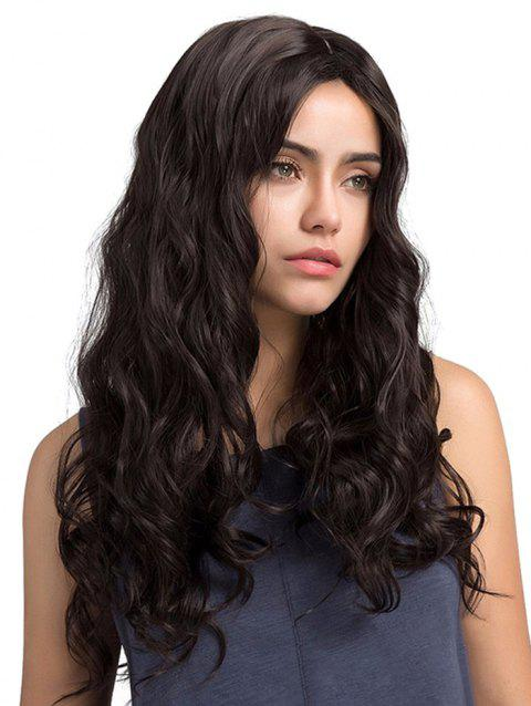 Long Center Parting Wavy Party Capless Synthetic Wig - NATURAL BLACK