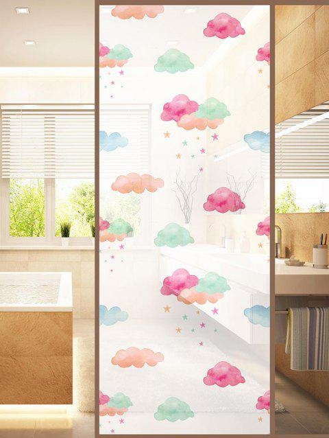 Clouds Print Translucent Frosted Glass Sticker - multicolor 47*23 INCH