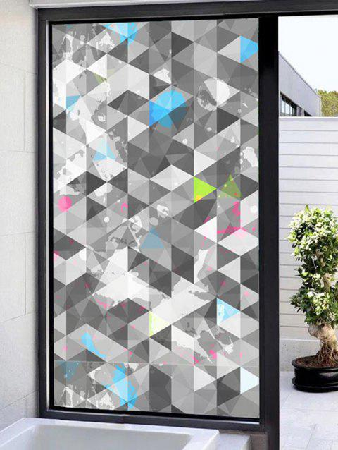 Geometric Print Translucent Frosted Glass Sticker - GRAY 47*23 INCH