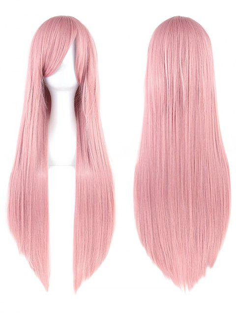 Long Inclined Bang Straight Party Lolita Synthetic Wig - LIGHT PINK