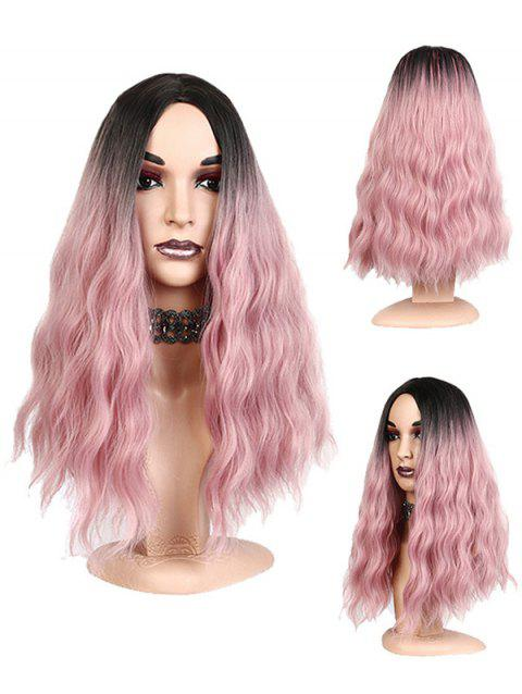 Long Side Parting Natural Wavy Synthetic Party Cosplay Wig - LIGHT PINK