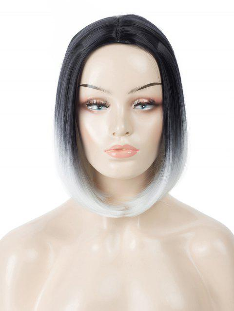 Center Parting Short Ombre Straight Bob Tail Adduction Cosplay Wig - multicolor