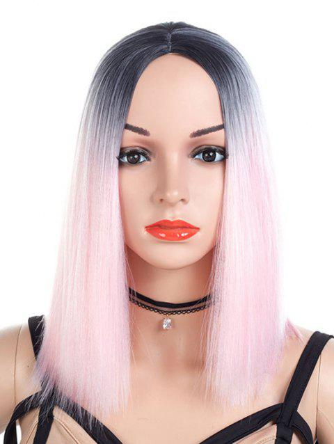 Medium Center Parting Straight Ombre Cosplay Lolita Synthetic Wig - LIGHT PINK