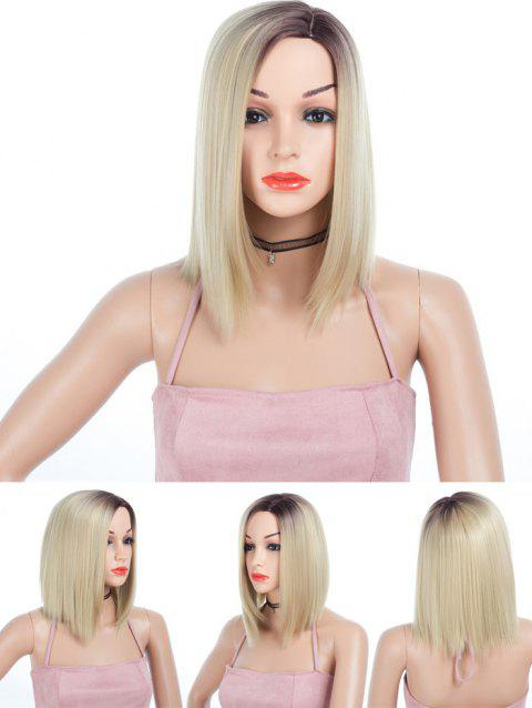 Short Side Parting Ombre Straight Cosplay Synthetic Wig - MILK WHITE