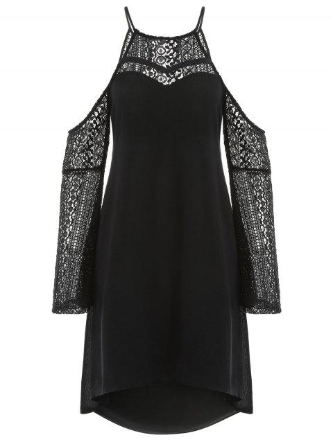 Back Cut Out Lace Sleeve Shift Dress - BLACK XL