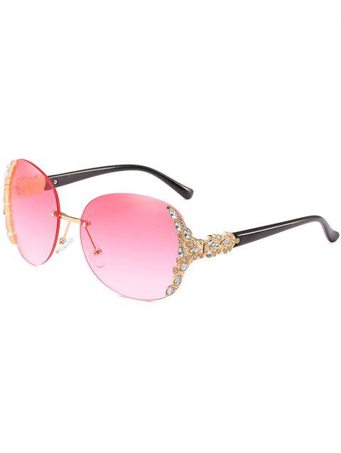 Anti Fatigue Rhinestone Inlaid Rimless Sunglasses - PINK