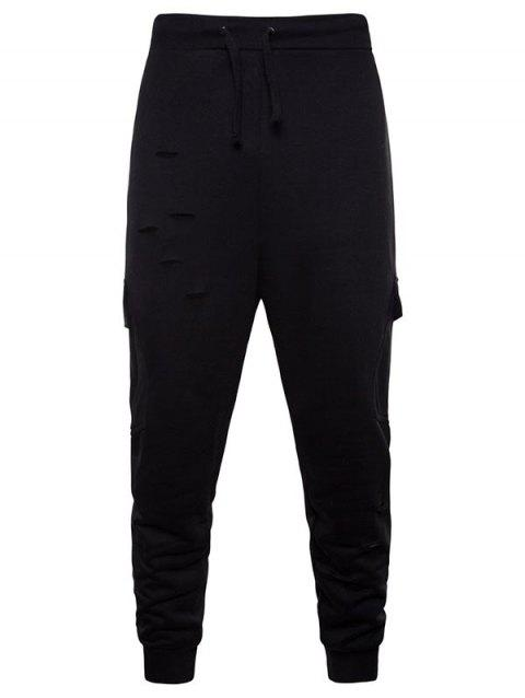 Drawstring Distressed Multi-pocket Jogger Pants - BLACK L