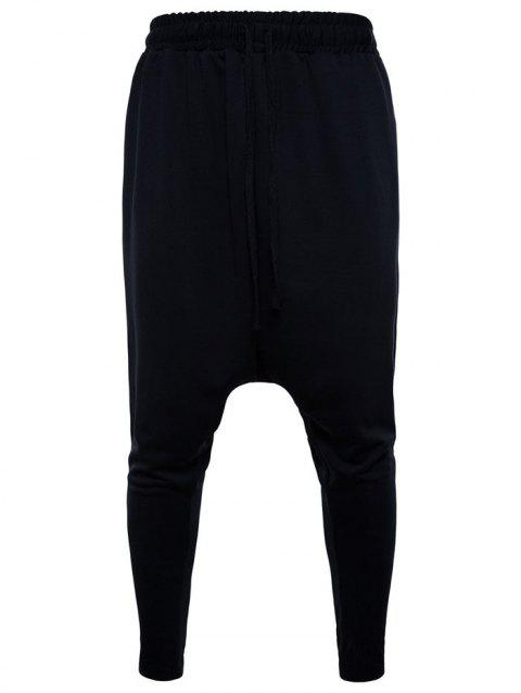 Solid Color Drawstring Harem Pants - BLACK L