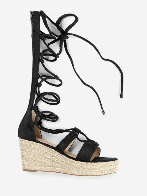 ZAFUL Wedge Heel Strappy Gladiator Mid Calf Sandals - BLACK 38