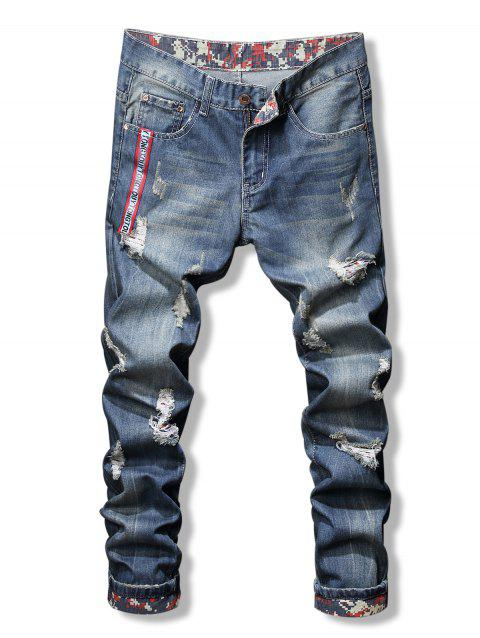 Letter Print Ripped Zip Fly Jeans - BLUE 32