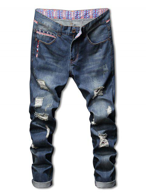 American Flag Print Zip Fly Destroyed Jeans - BLUE 32