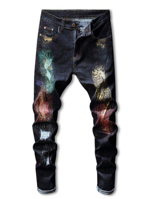 Distressed Zip Fly Colorful Paint Jeans - DEEP BLUE 34