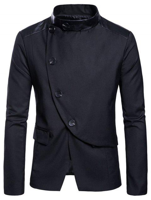 Flap Pockets Button Design Panel Blazer - BLACK M