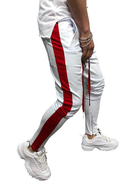 Two Tones Side Striped Patch Sports Pants - WHITE M