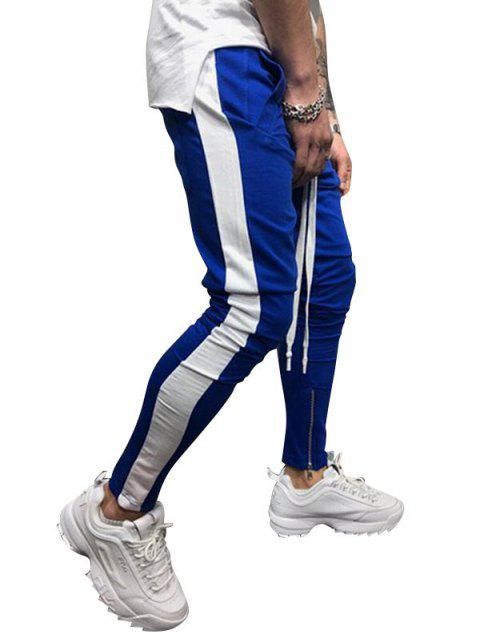 Two Tones Side Striped Patch Sports Pants - BLUE 2XL