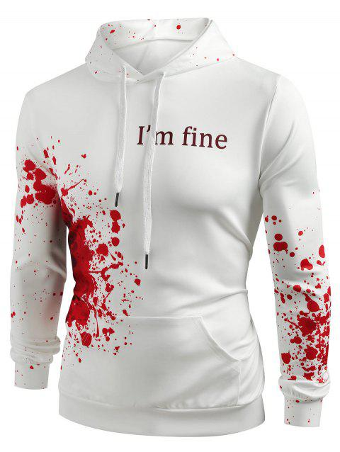 Halloween Inspired Spatter Letter Pattern Casual Pullover Hoodie - MILK WHITE M