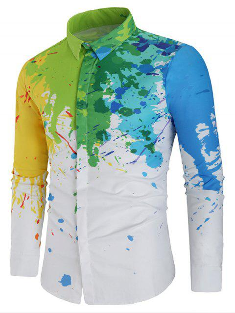 Slim Fit Long Sleeve Paint Splatter Shirt - WHITE M