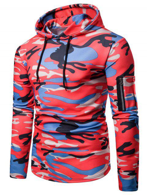 76deeb7c8a325 41% OFF] 2019 Camouflage Print Patch Pocket Hoodie In RED S ...