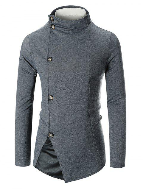 Stand Collar Panel Single Breasted Blazer - DARK GRAY XL