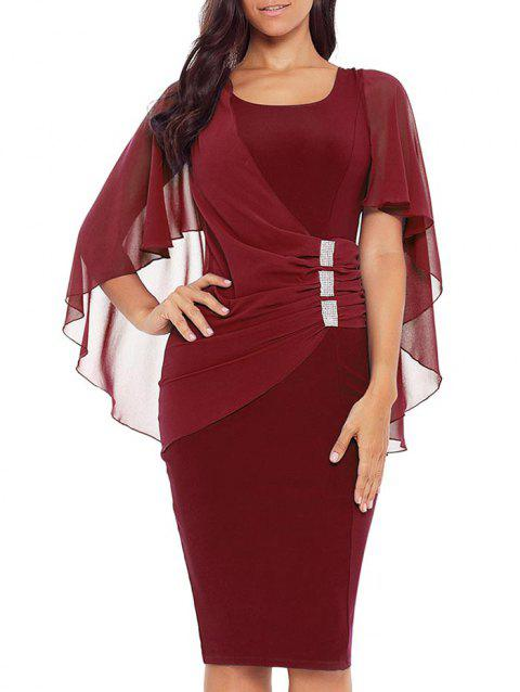 Robe Moulante Cape Embellie de Strass - Rouge Vineux M
